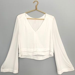 Free People V-Neck Wide Sleeve Blouse